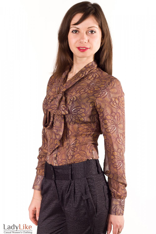 Фото Блузка коричневая с бантом Деловая женская одежда