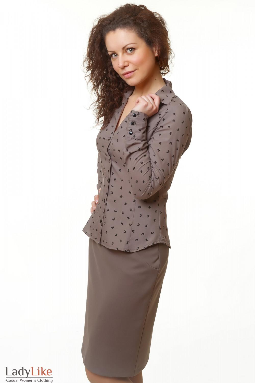 Купить блузку коричневую Деловая женская одежда
