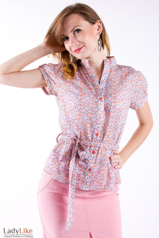Фото Блузка летняя в разноцветный горох Деловая женская одежда
