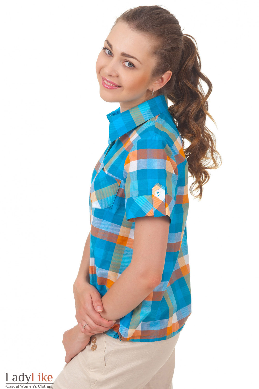 купить блузку на кулисе в синюю клетку Деловая женская одежда