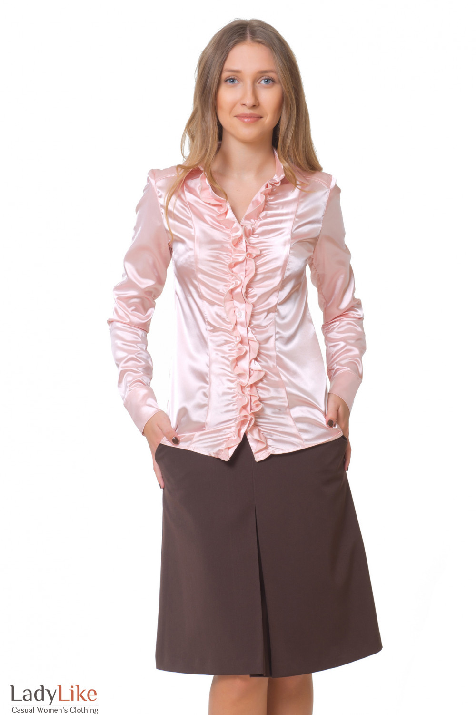 Блузка розовая со сборкой Деловая женская одежда