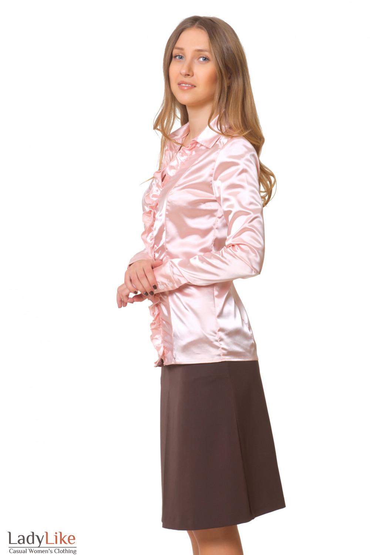 Купить атласную розовую блузку Деловая женская одежда