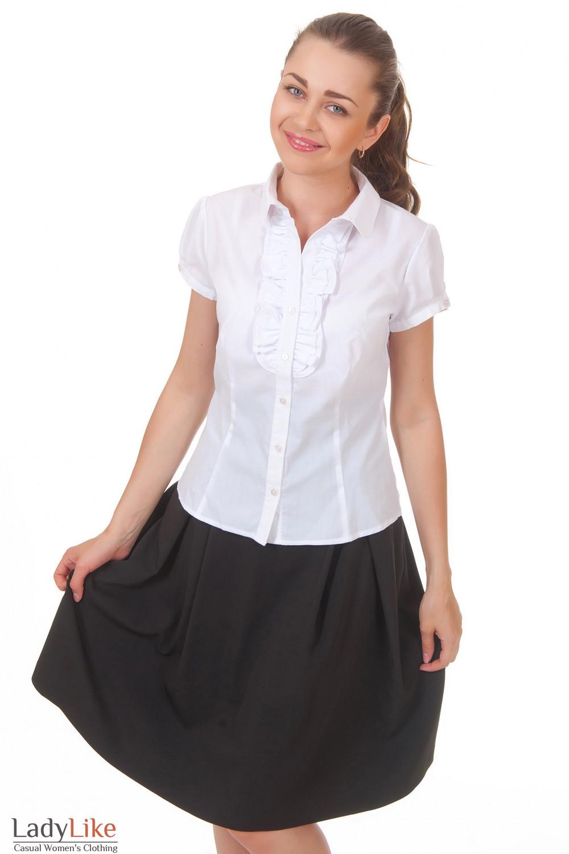 Купить белую блузку с двойным рюшем Деловая женская одежда