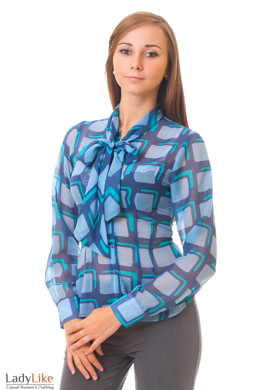 Купить блузку из голубого шифона Деловая женская одежда