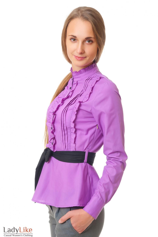 Купить сиреневую блузку с рюшами Деловая женская одежда