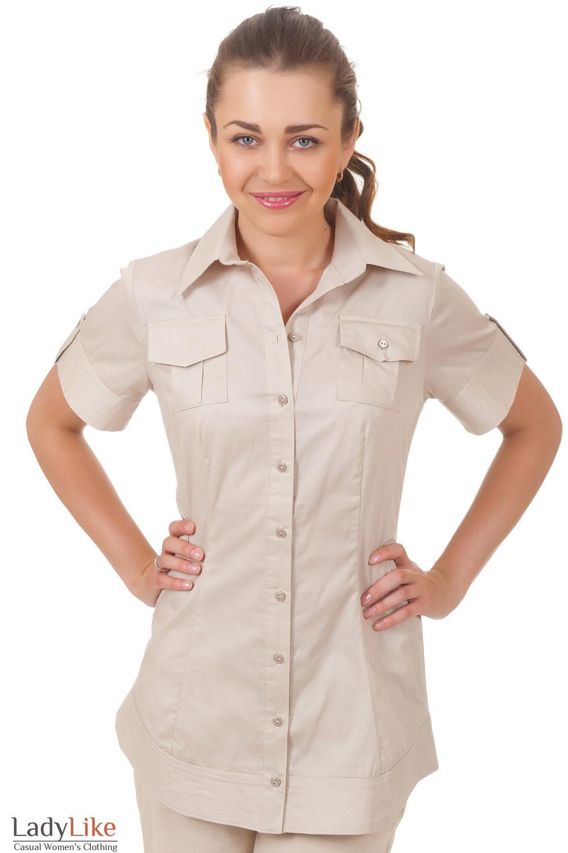 Блузка удлиненная бежевая Деловая женская одежда