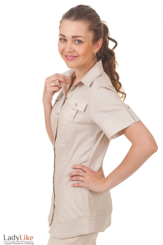 Купить удлиненную бежевую блузку Деловая женская одежда