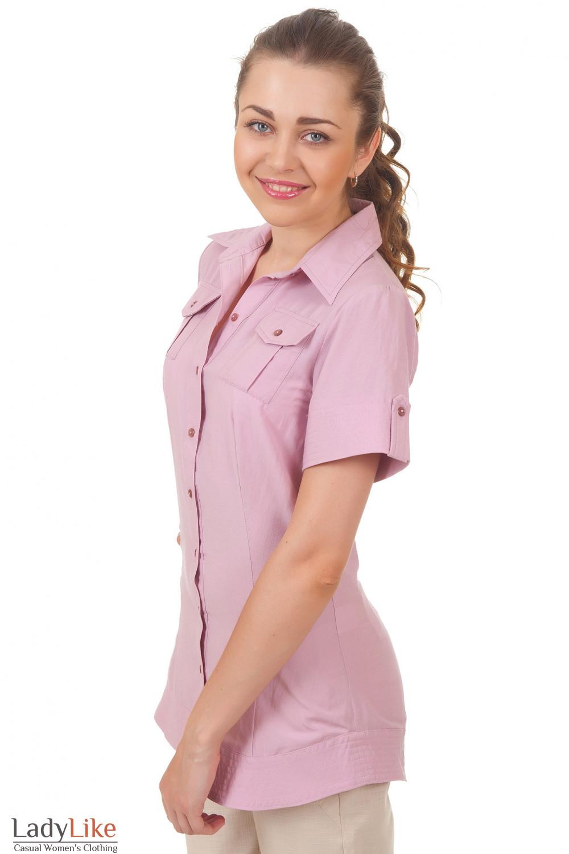 Купить блузку удлиненную розовую Деловая женская одежда