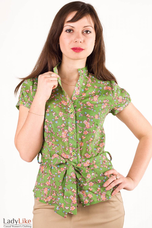 Фото Блузка в мелкие цветы салатовая Деловая женская одежда