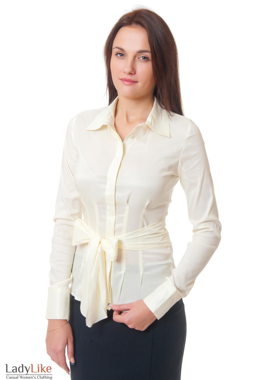 Блузка желтая в мелкую полоску Деловая женская одежда