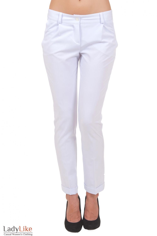 Брюки белые с манжетой Деловая женская одежда