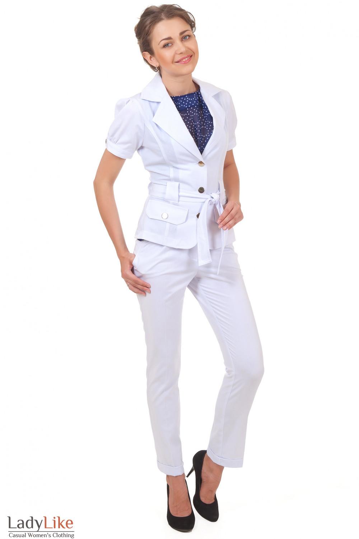 Купить белые брюки с манжетой Деловая женская одежда