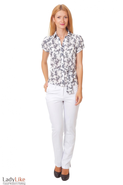 Купить белые брюки с разрезом Деловая женская одежда