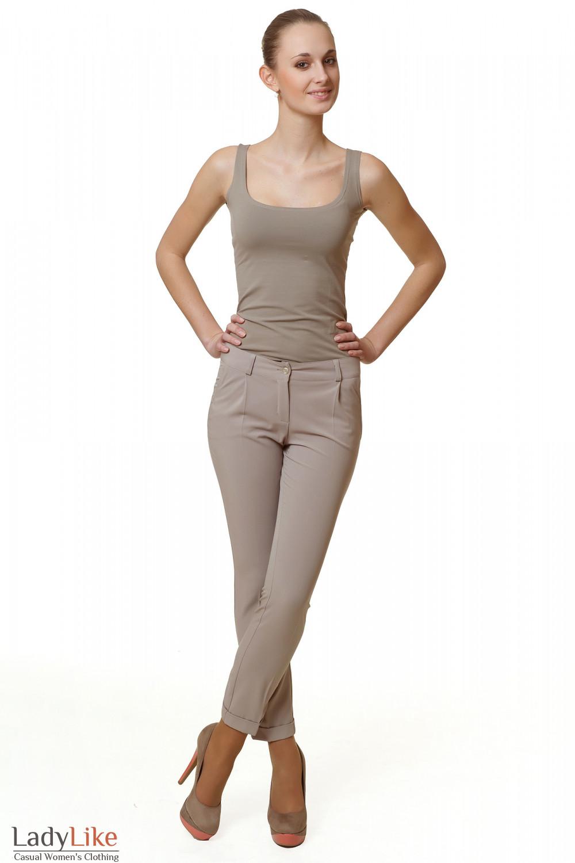 Купить брюки бежевые с манжетой Деловая женская одежда