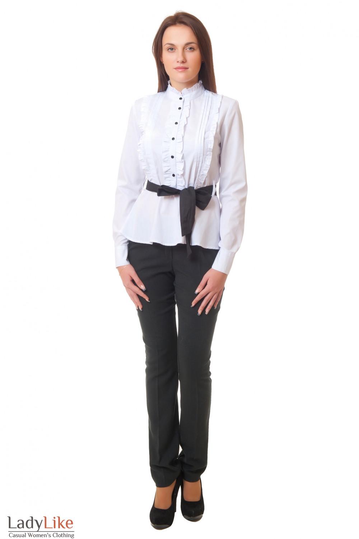 Купить черные брюки с белой блузкой Деловая женская одежда
