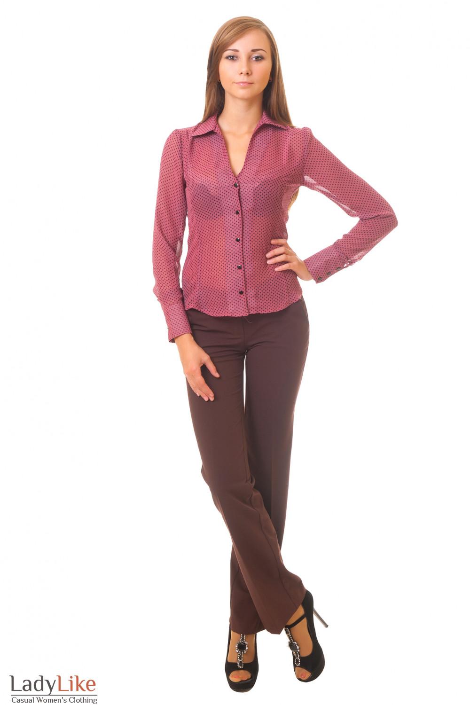 Купить коричневые брюки с блузкой Деловая женская одежда