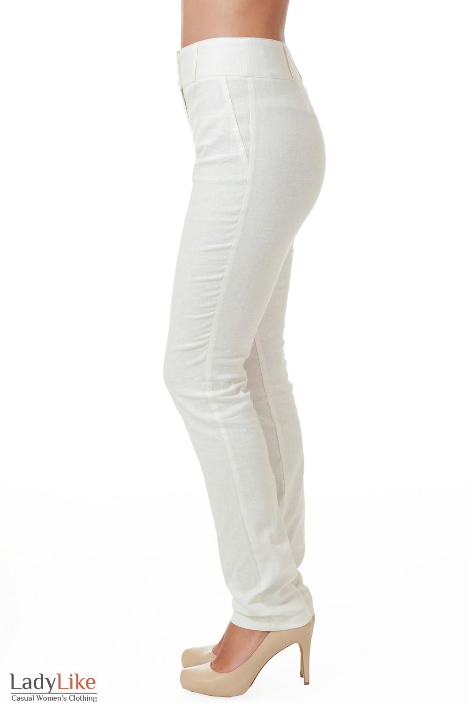 Белые льняные брюки зауженные Деловая женская одежда