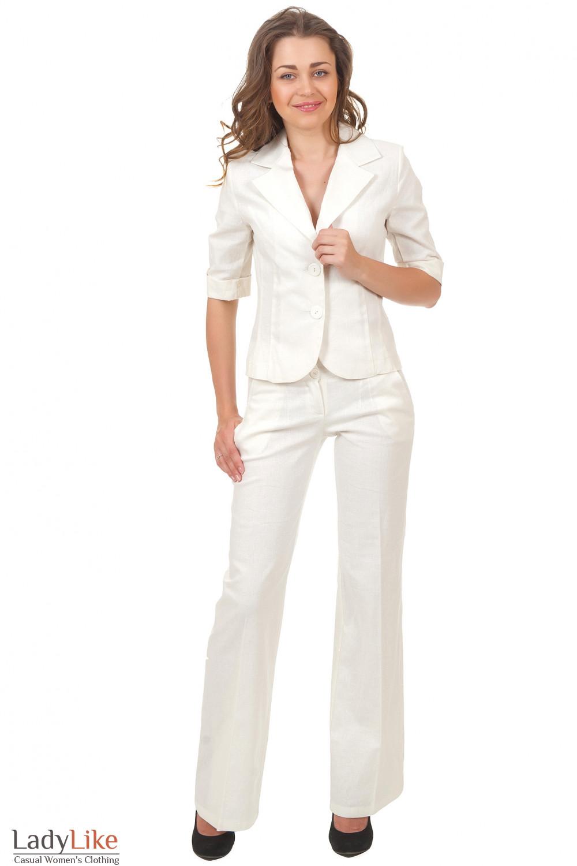 Купить молоные льняные брюки Деловая женская одежда