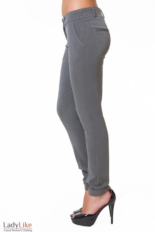 Купить теплые серые брюки Деловая женская одежда