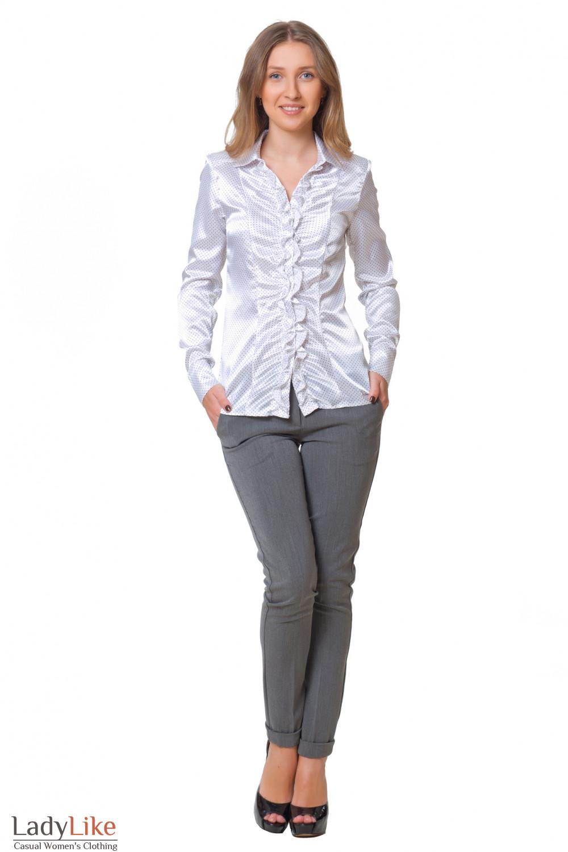 Купить серые брюки с манжетой Деловая женская одежда