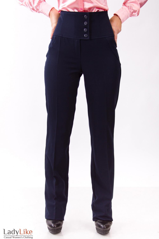Фото Брюки синие с поясом на запах Деловая женская одежда