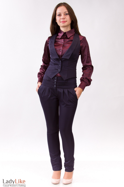 Фото Брючный костюм синий Деловая женская одежда