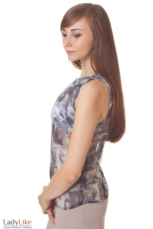 Купить серую блузку из шифона Деловая женская одежда