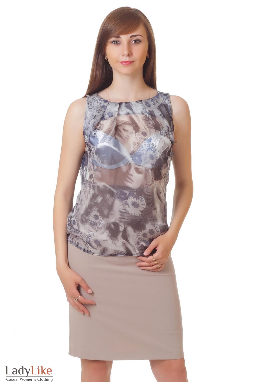 Купить серую майку Деловая женская одежда