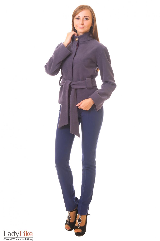 Костюм, сиреневое короткое пальто плюс синее брюки