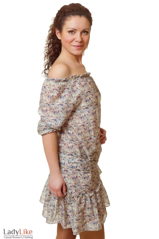 Купить летнее платье в синий цветочек Деловая женская одежда