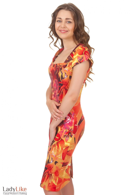 Летнее платье с коротким рукавом Деловая женская одежда