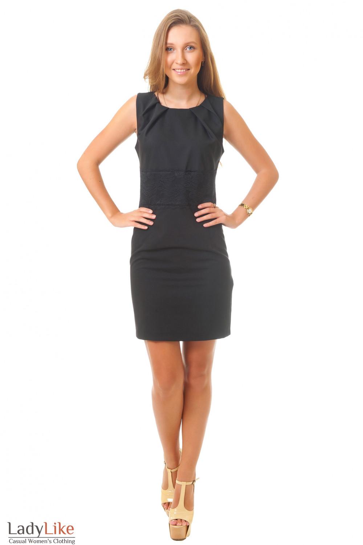 Купить черное платье с кружевом Деловая женская одежда