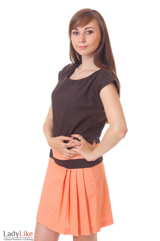 Купить льняное коричневое платье Деловая женская одежда