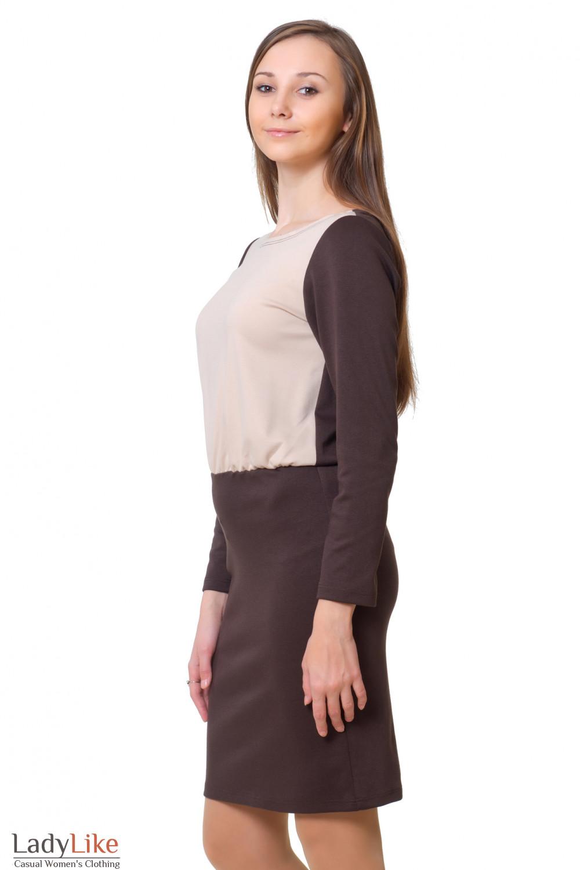 Купить коричневое трикотажное платье Деловая женская одежда