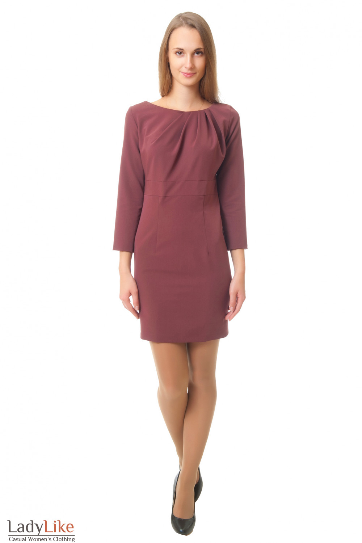 Купить коричневое платье с защипами Деловая женская одежда