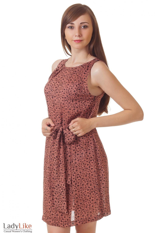 Платье коричневое в цветочек Деловая женская одежда
