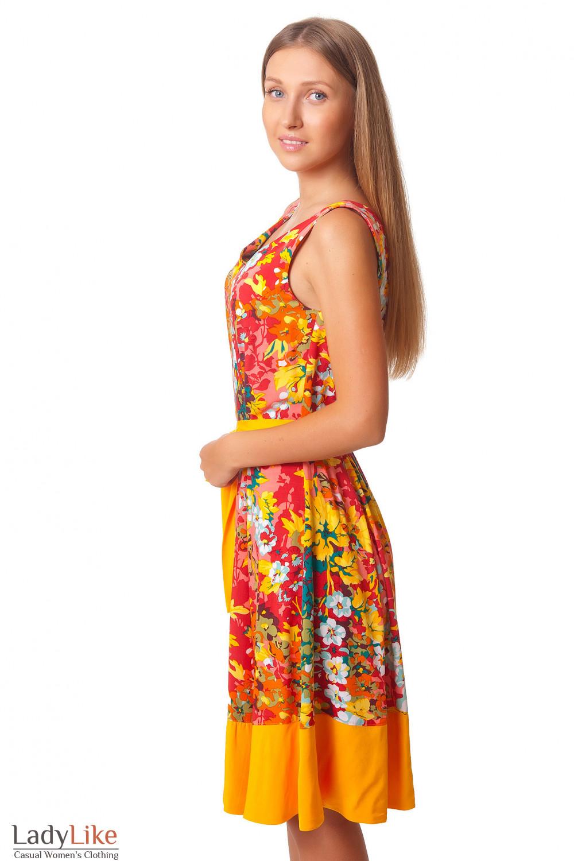 Купить платье в цветы с поясом Деловая женская одежда