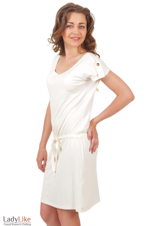Купить трикотажное платье с кулиской Деловая женская одежда