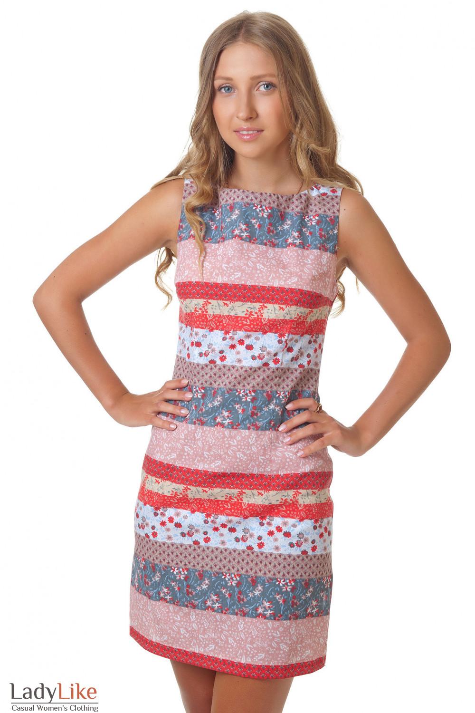 Платье полосатое с цветочками Деловая женская одежда