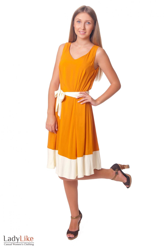 Платье рыжее с молочным поясом Деловая женская одежда