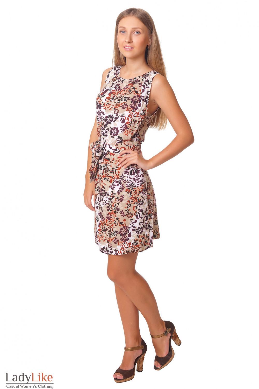 Купить летнее платье с бордовым узором Деловая женская одежда