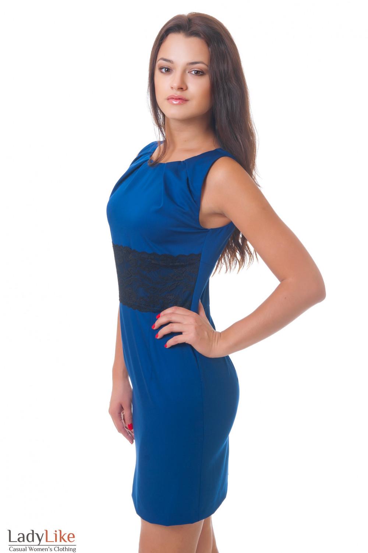 Купить синее платье с кружевом Деловая женская одежда