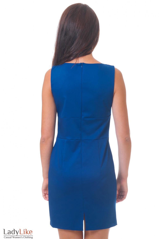 Платье синее вид сзади Деловая женская одежда