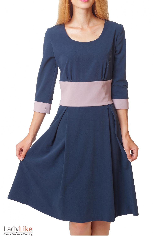 Купить синее платье с пышной юбкой Деловая женская одежда