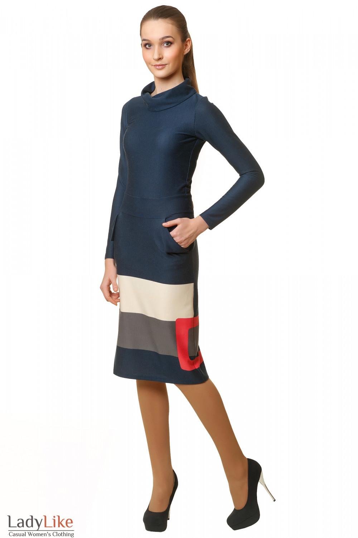 Купить платье синее с розовым рисунком Деловая женская одежда