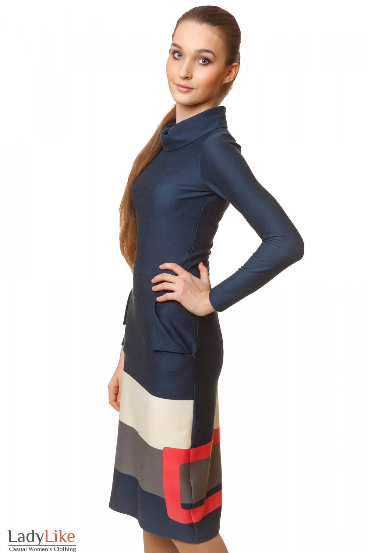 Купить трикотажное синее платье с узором Деловая женская одежда
