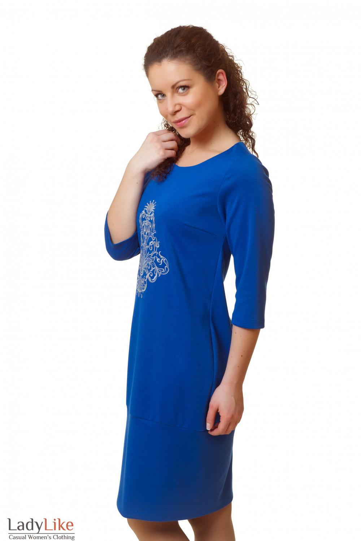 Купить платье синее с вышивкой Деловая женская одежда