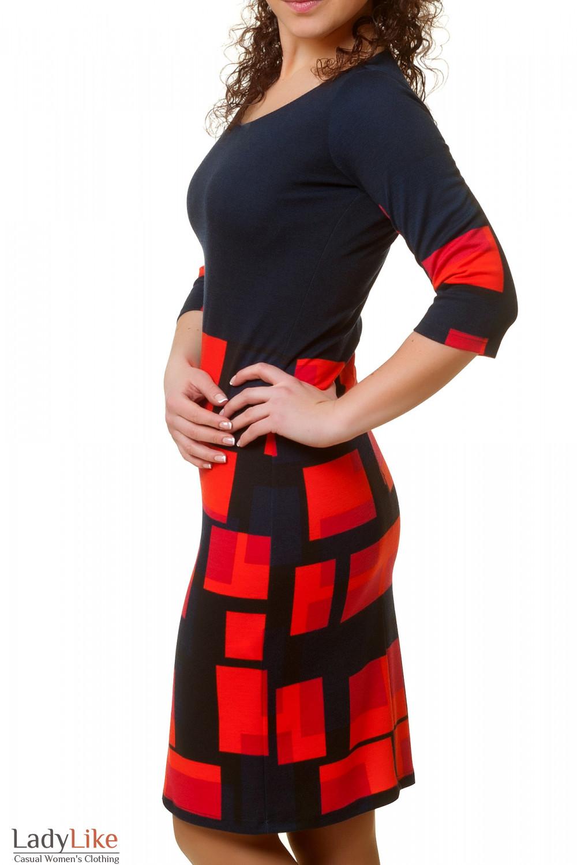 Купить трикотажное синее платье Деловая женская одежда