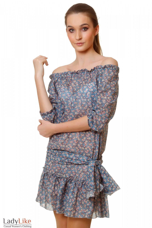 Платье синее в розовый цветочек Деловая женская одежда