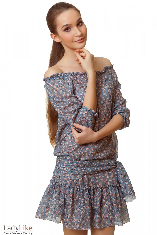 Купить платье синее в розовый цветочек Деловая женская одежда